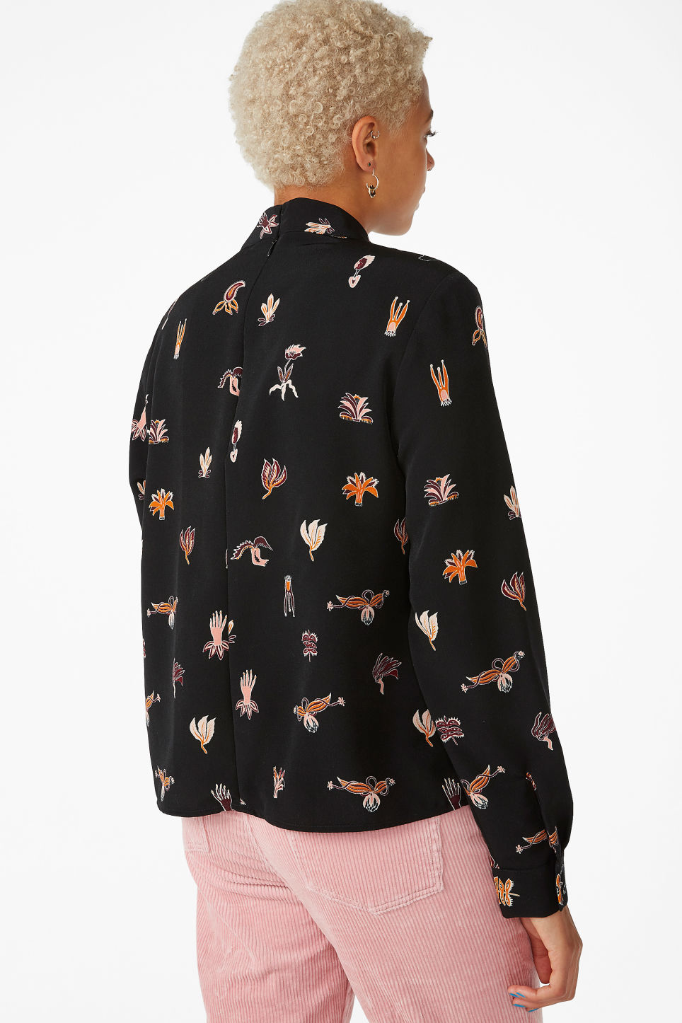 Model back image of Monki turtleneck blouse in black