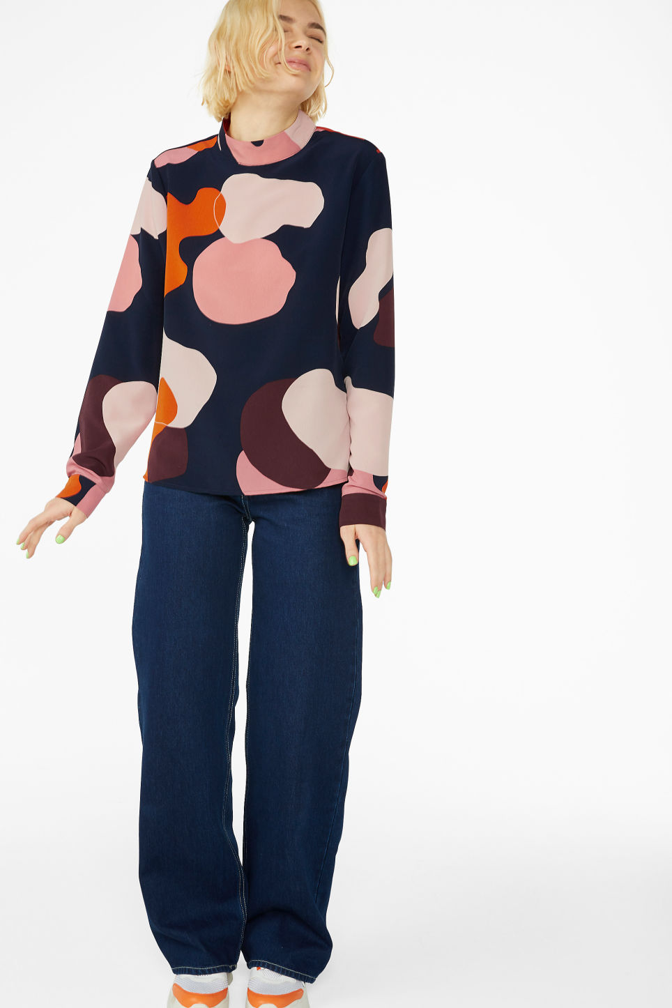 Model front image of Monki turtleneck blouse in blue