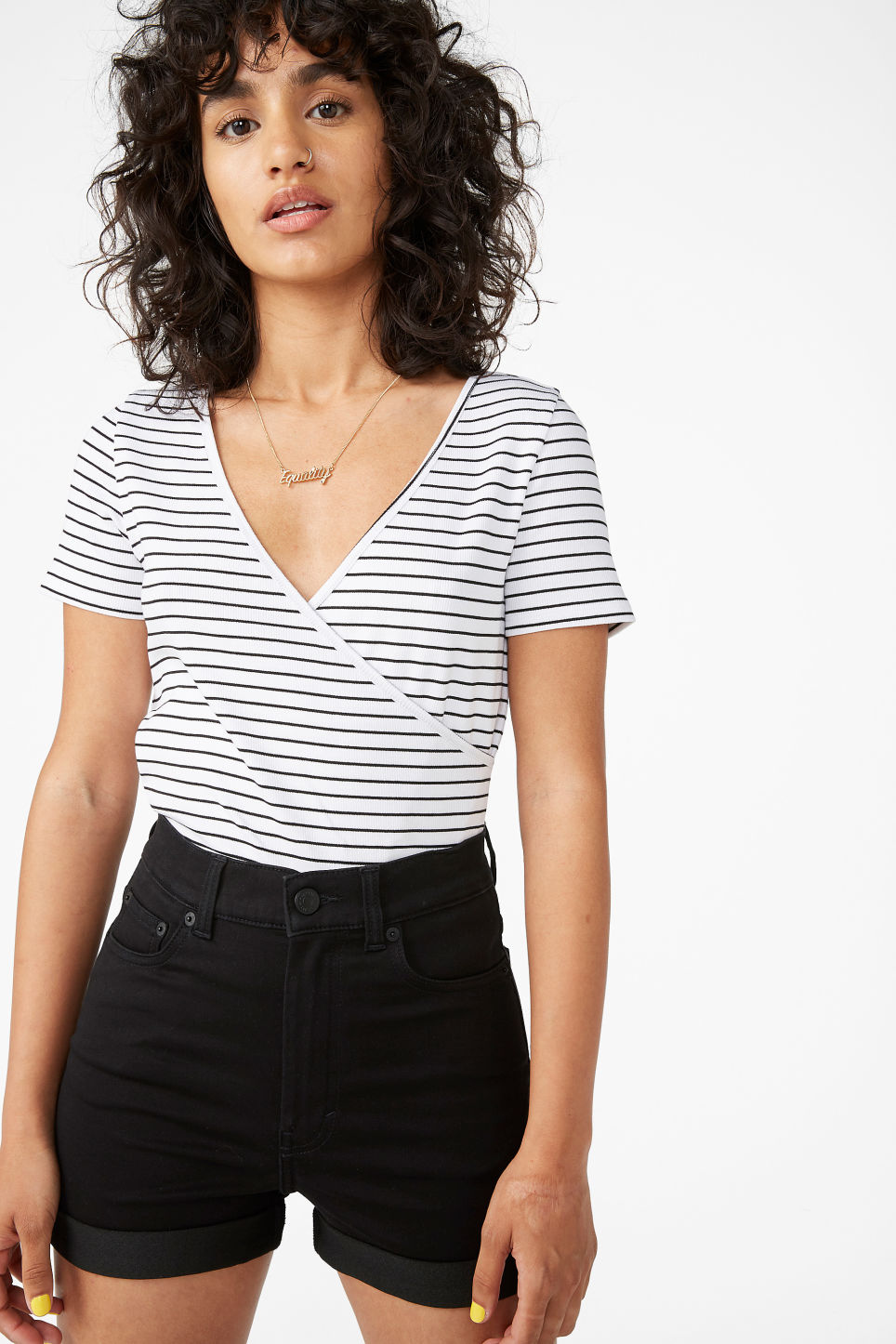Model front image of Monki ribbed wrap top in white