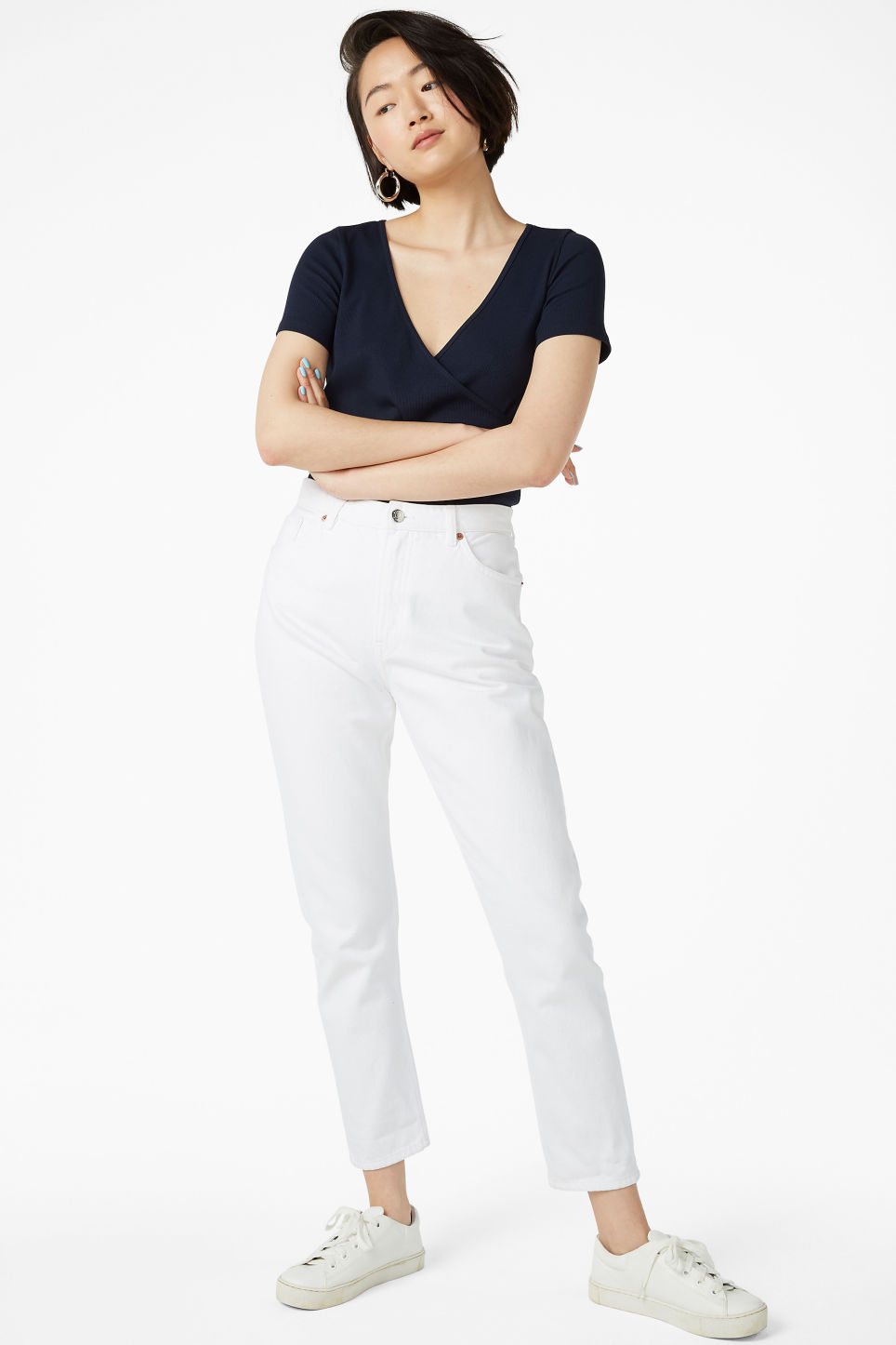 Model front image of Monki ribbed wrap top in blue