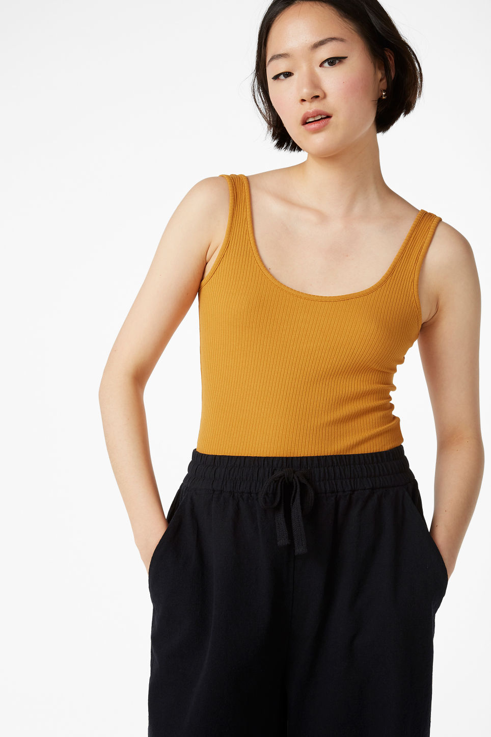 Model front image of Monki rib knit body in yellow