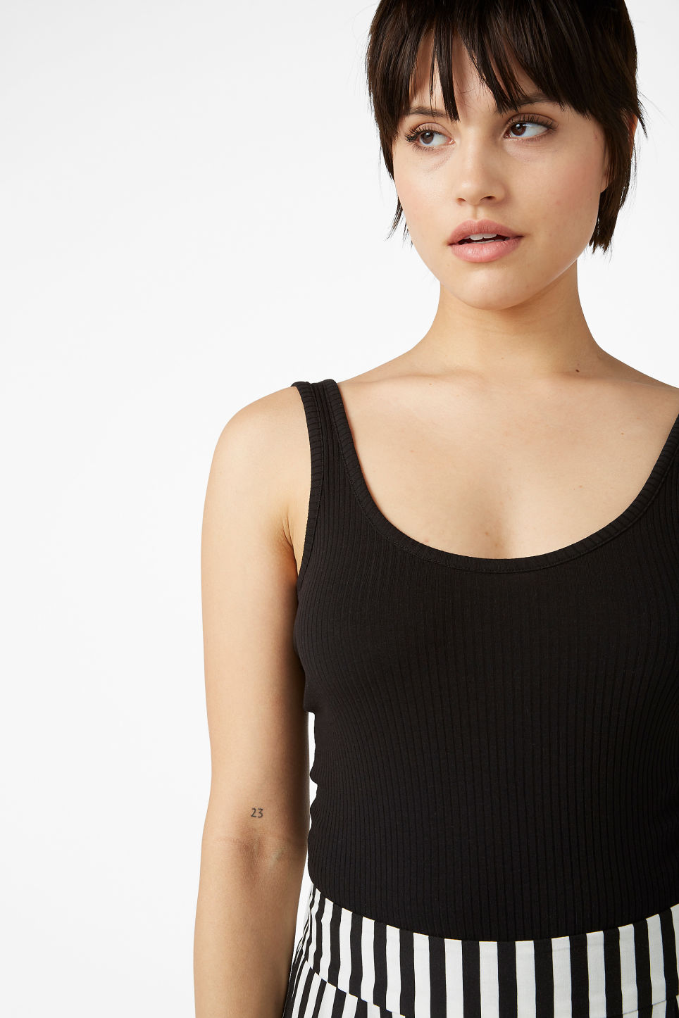 Model front image of Monki rib knit body in black