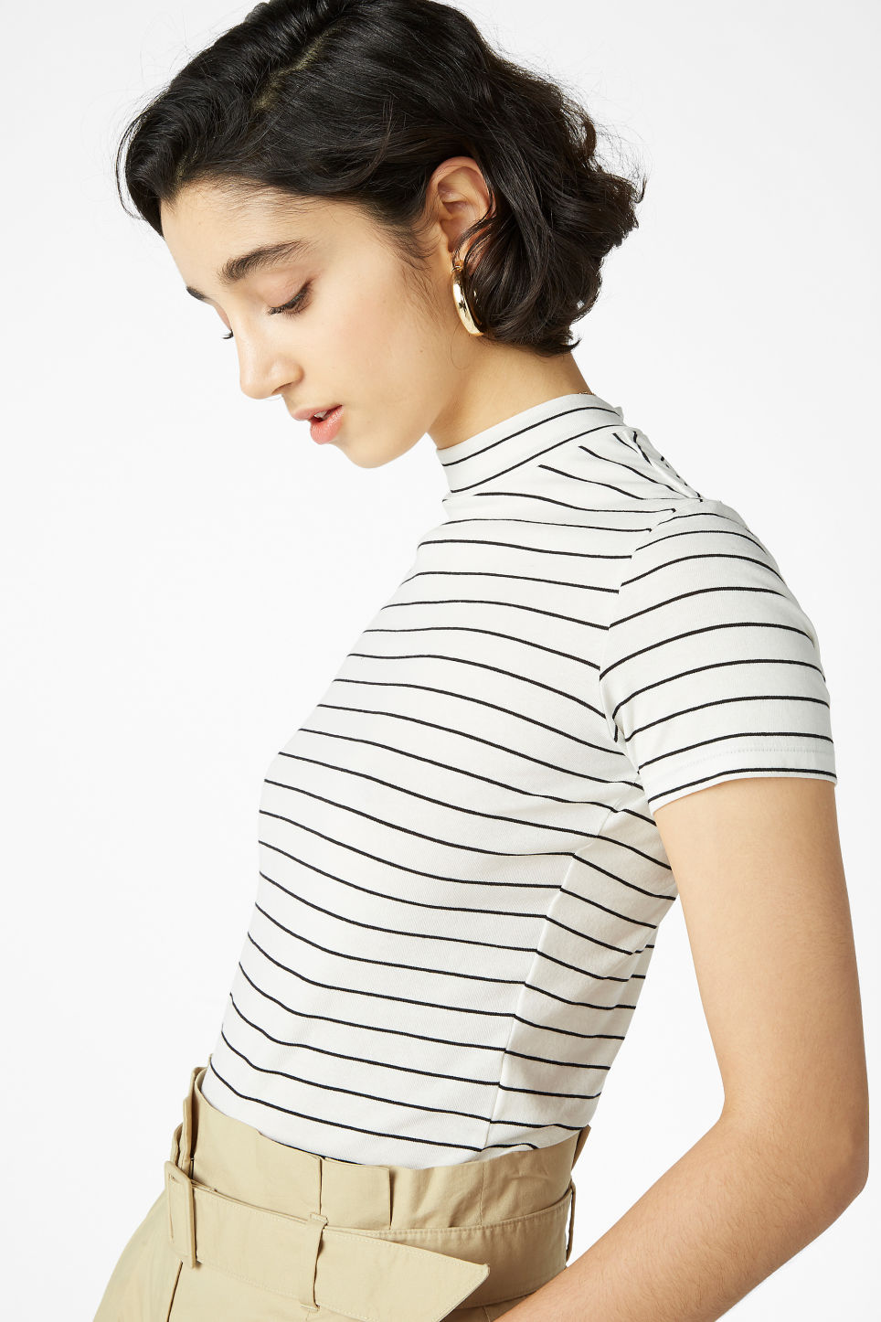 Model front image of Monki short-sleeved turtleneck in white