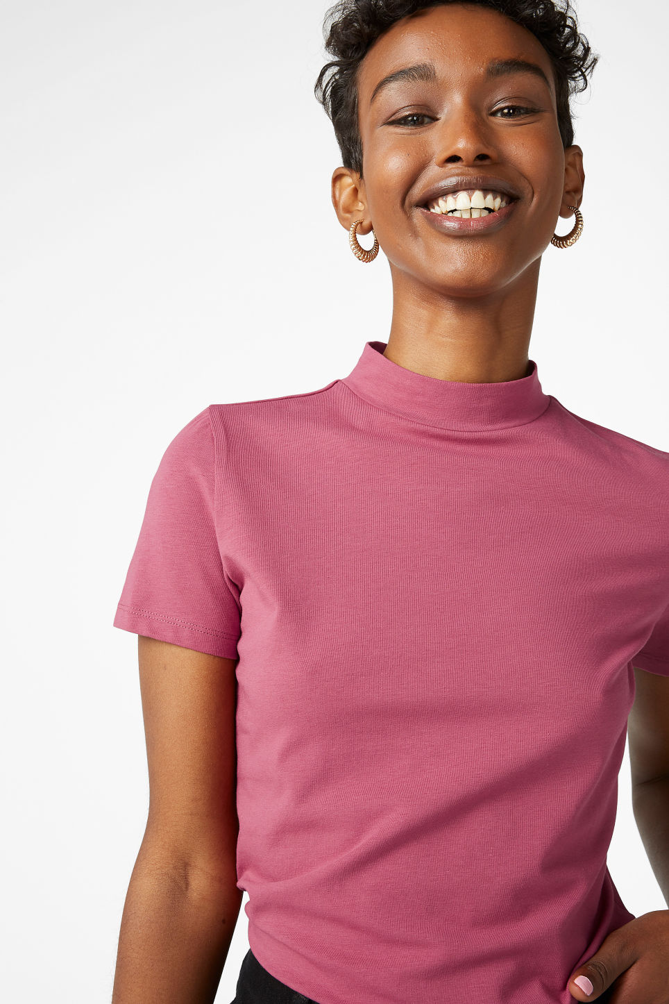 Model front image of Monki short-sleeved turtleneck in pink