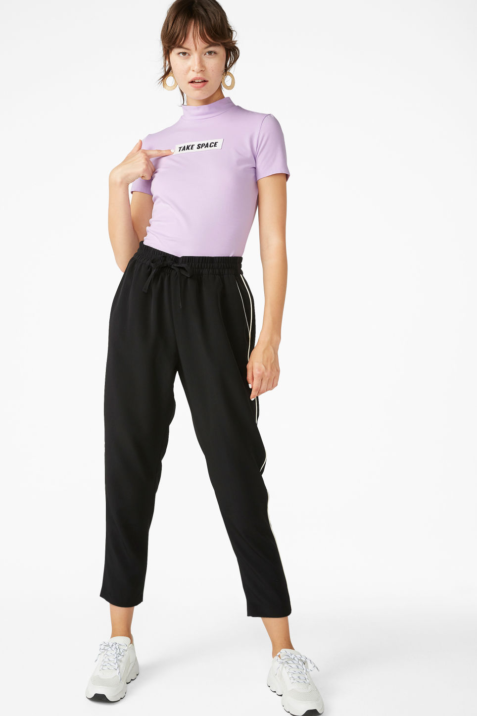 Model front image of Monki short-sleeved turtleneck in purple