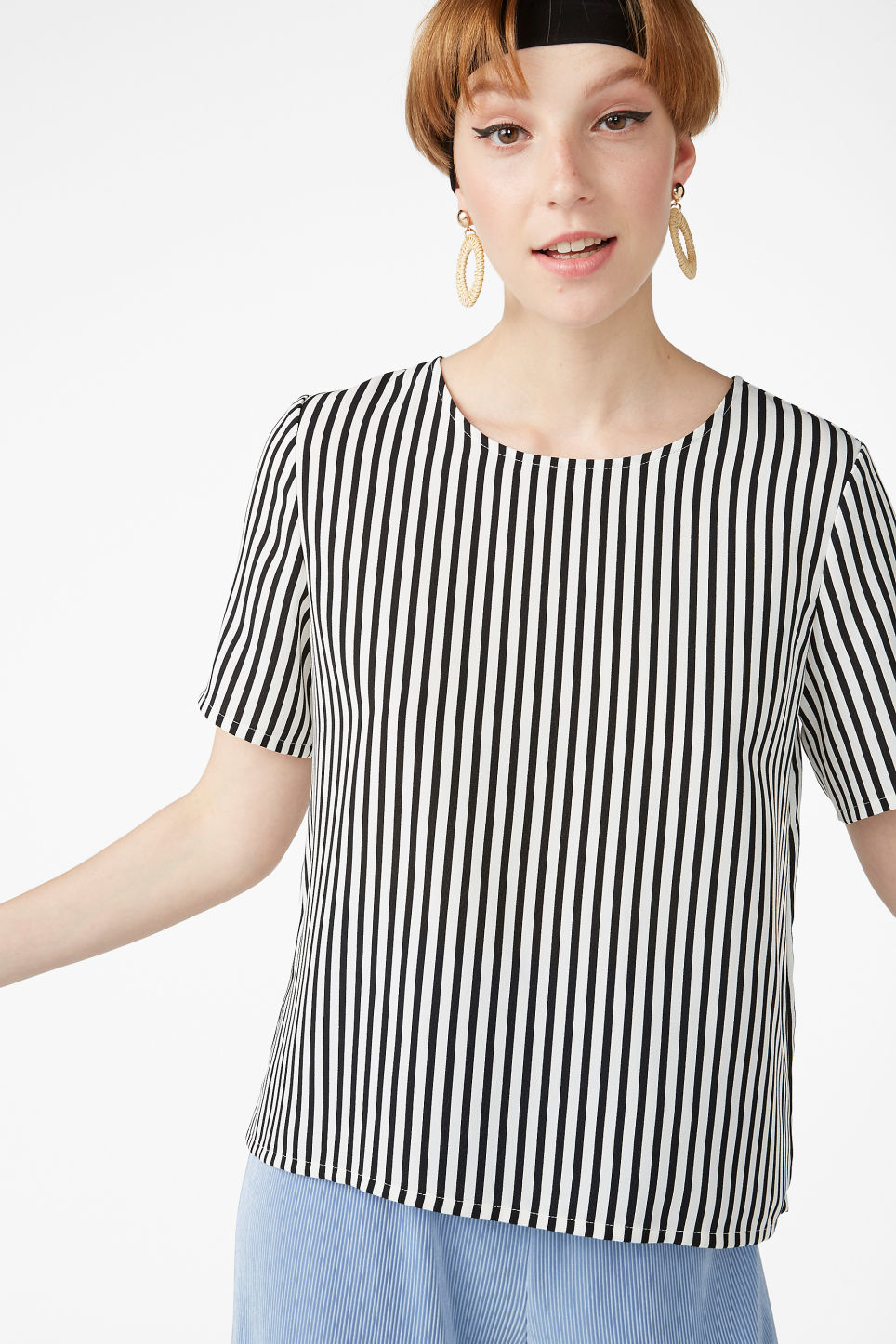 Model front image of Monki short-sleeved blouse in white