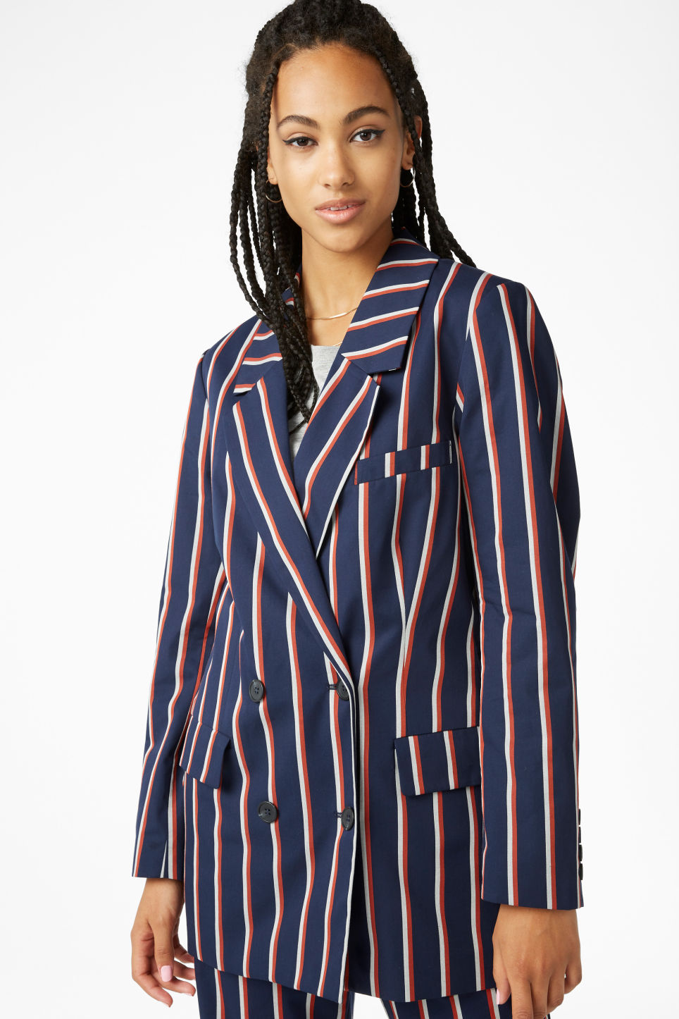 Model front image of Monki double-breasted blazer in blue