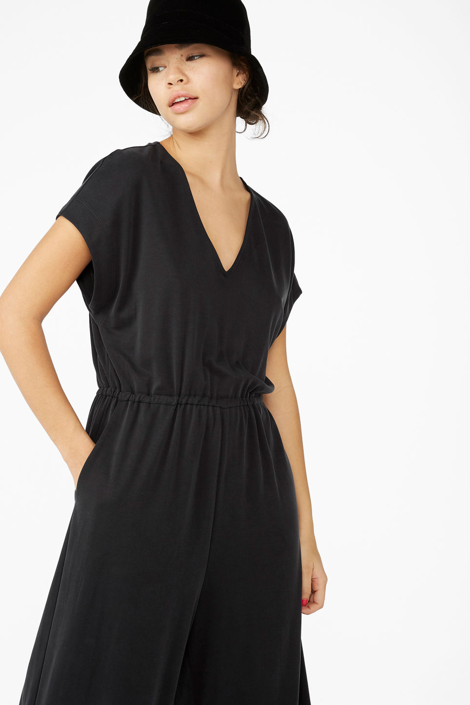 Model front image of Monki wide leg jumpsuit in black