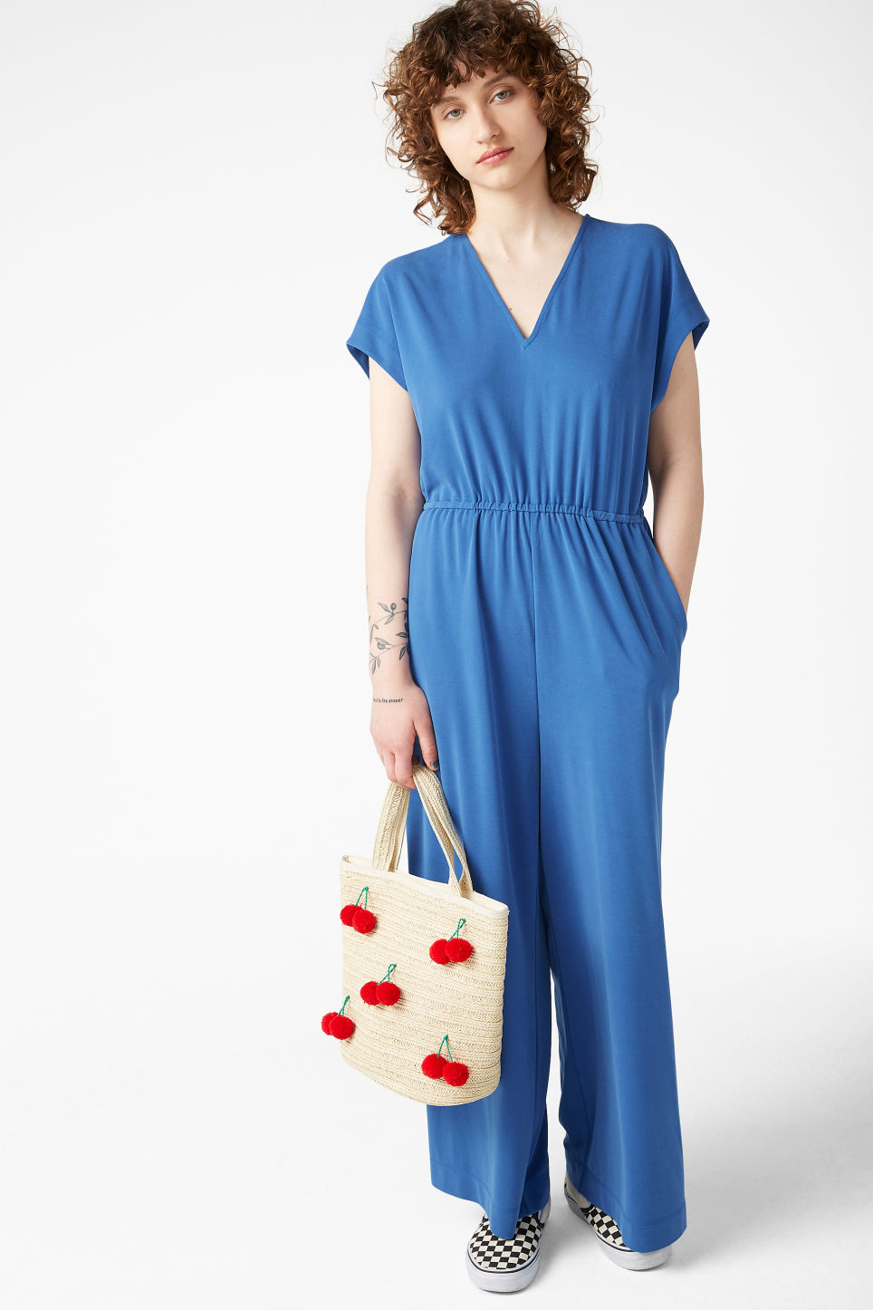Model front image of Monki wide leg jumpsuit in blue