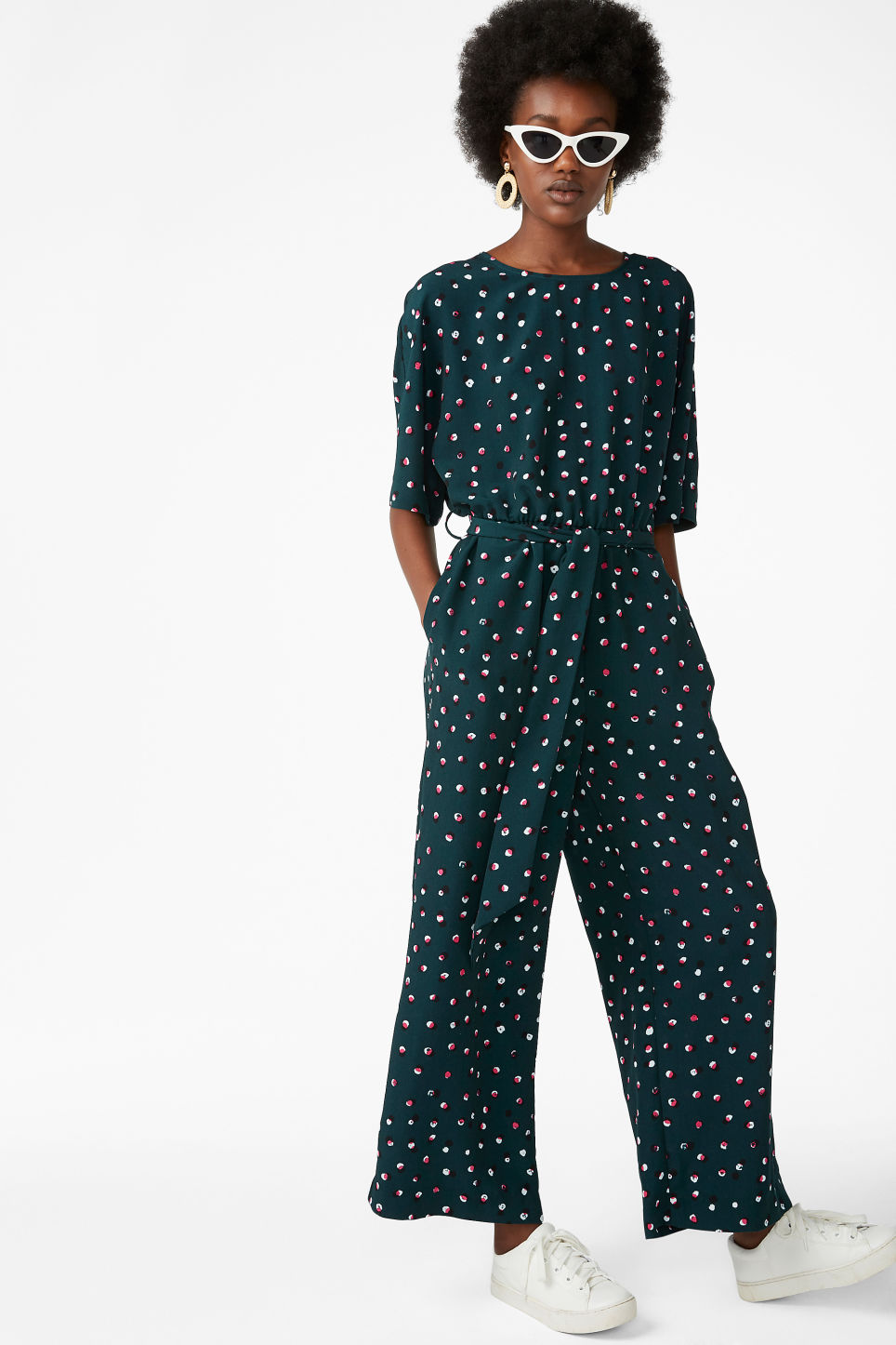 Model front image of Monki belted jumpsuit in green