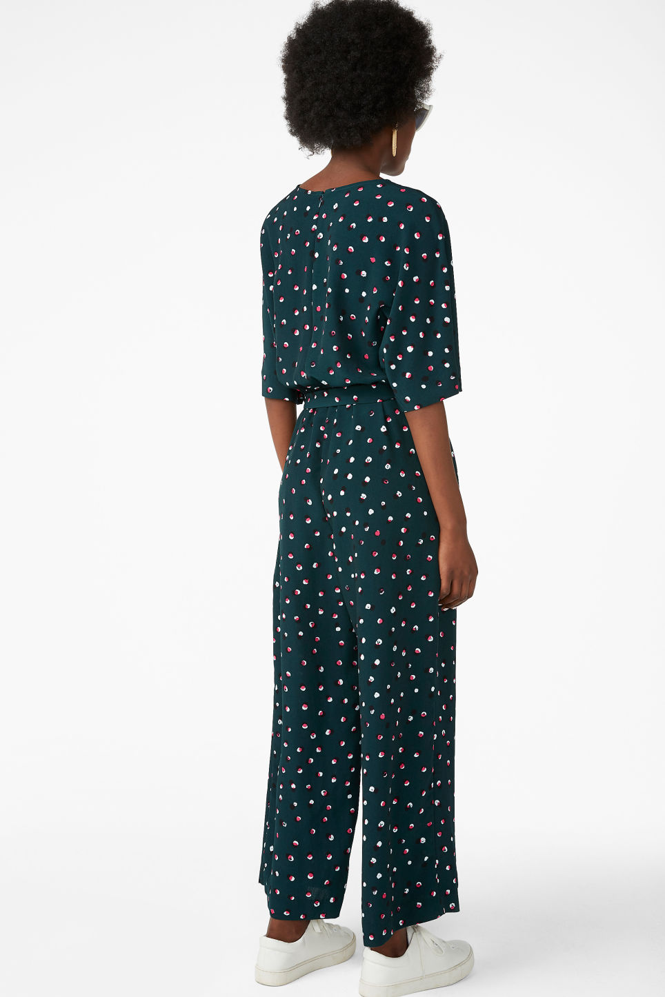 Model back image of Monki belted jumpsuit in green