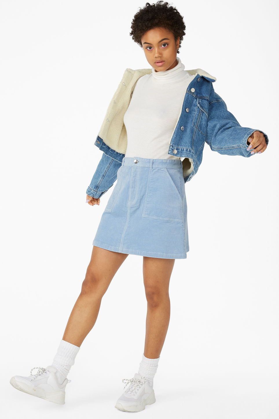 Model front image of Monki a-line cord mini skirt in blue