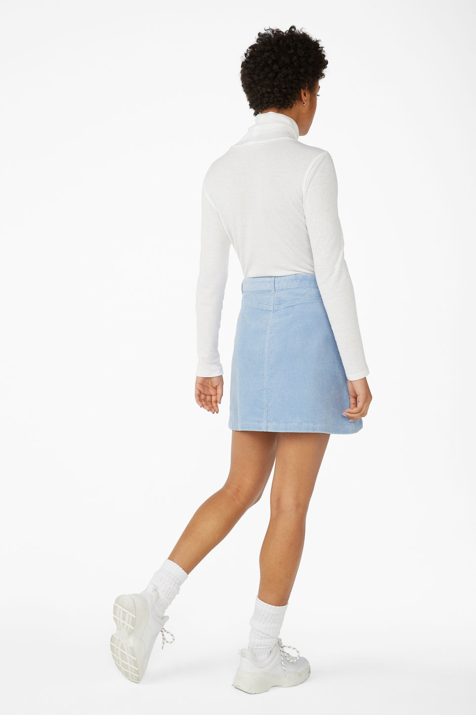 Model back image of Monki a-line cord mini skirt in blue