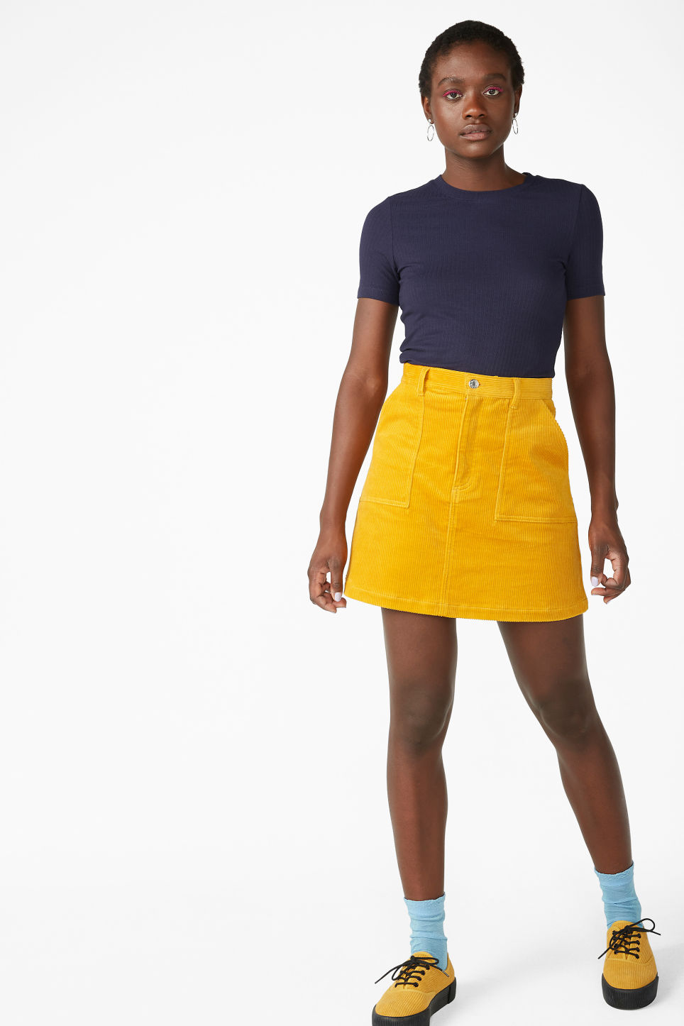 Model front image of Monki a-line cord mini skirt in yellow