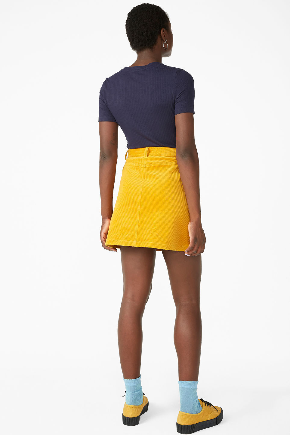 Model back image of Monki a-line cord mini skirt in yellow