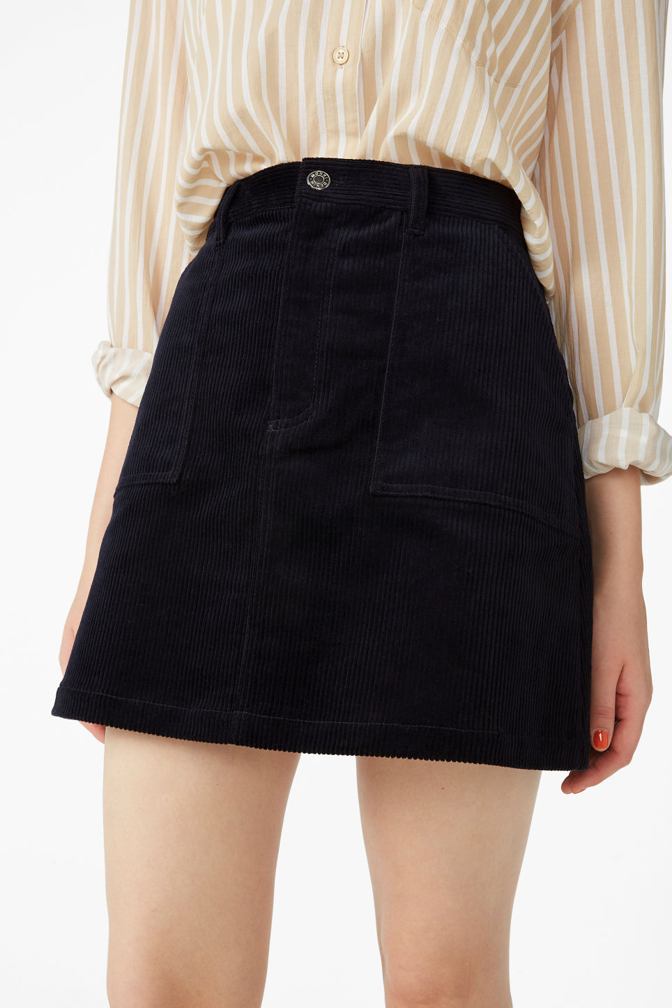 Model side image of Monki a-line cord mini skirt in blue