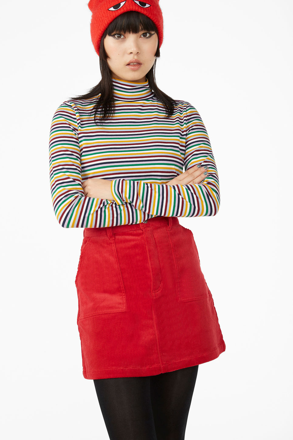 Model front image of Monki a-line cord mini skirt in red