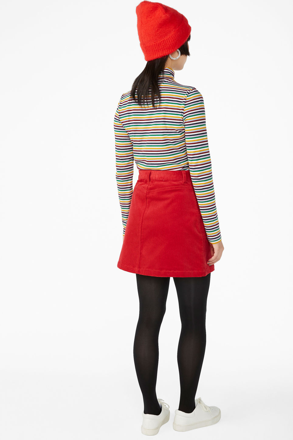Model back image of Monki a-line cord mini skirt in red