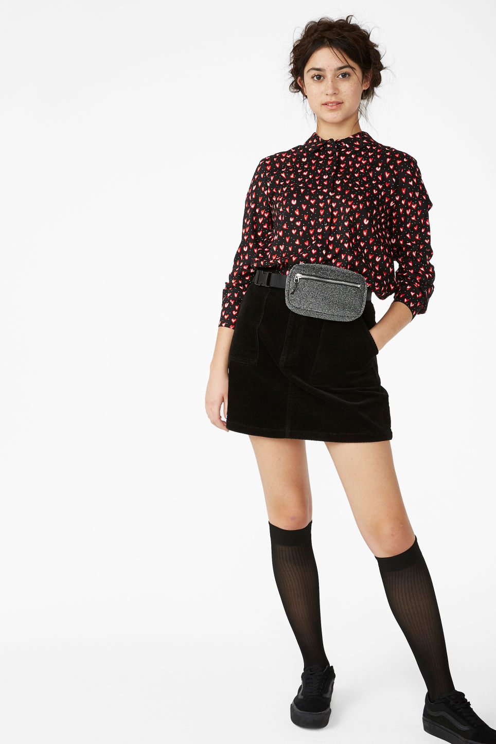 Model front image of Monki a-line cord mini skirt in black