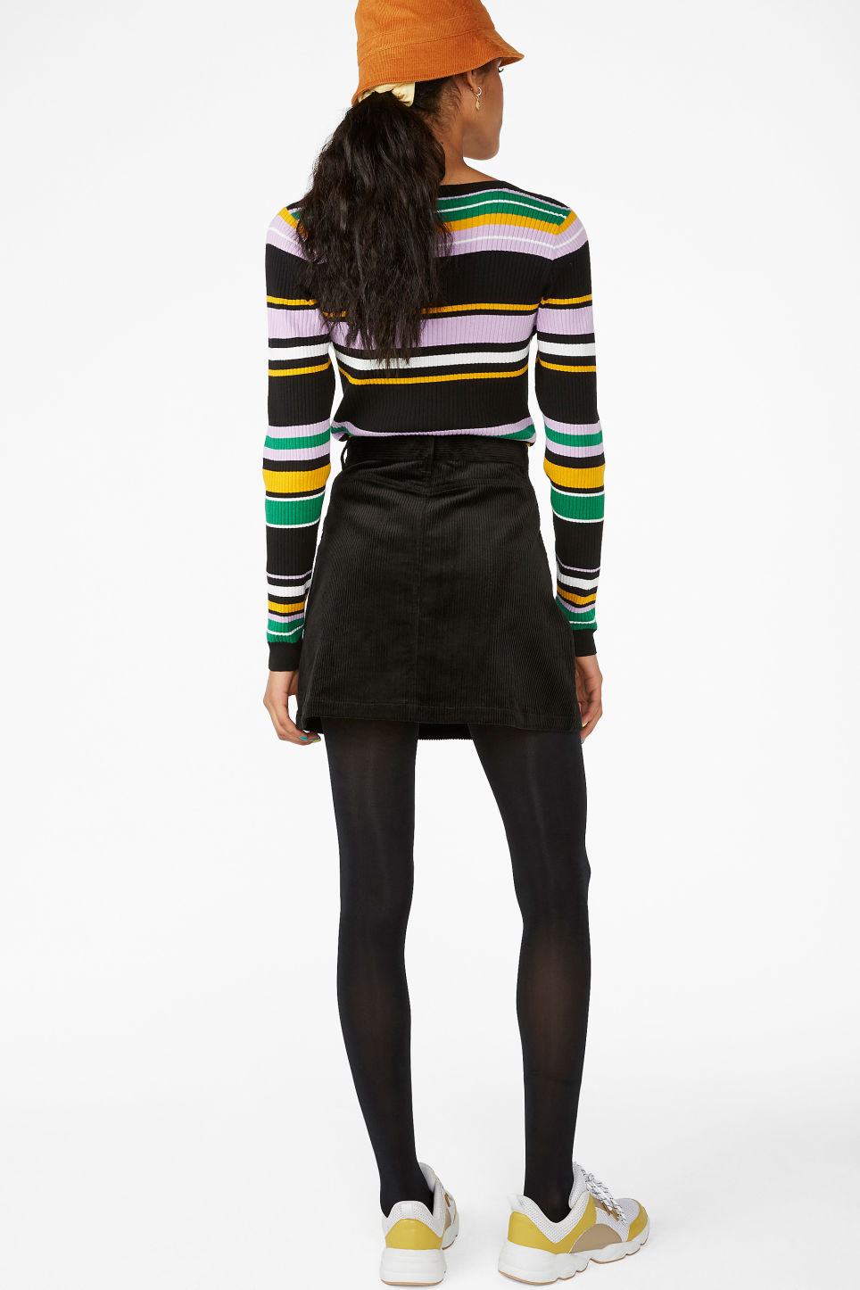 Model back image of Monki a-line cord mini skirt in black