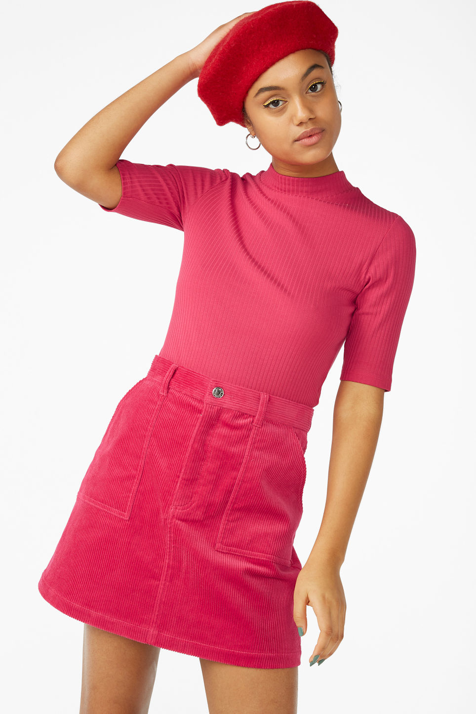 Model front image of Monki a-line cord mini skirt in pink