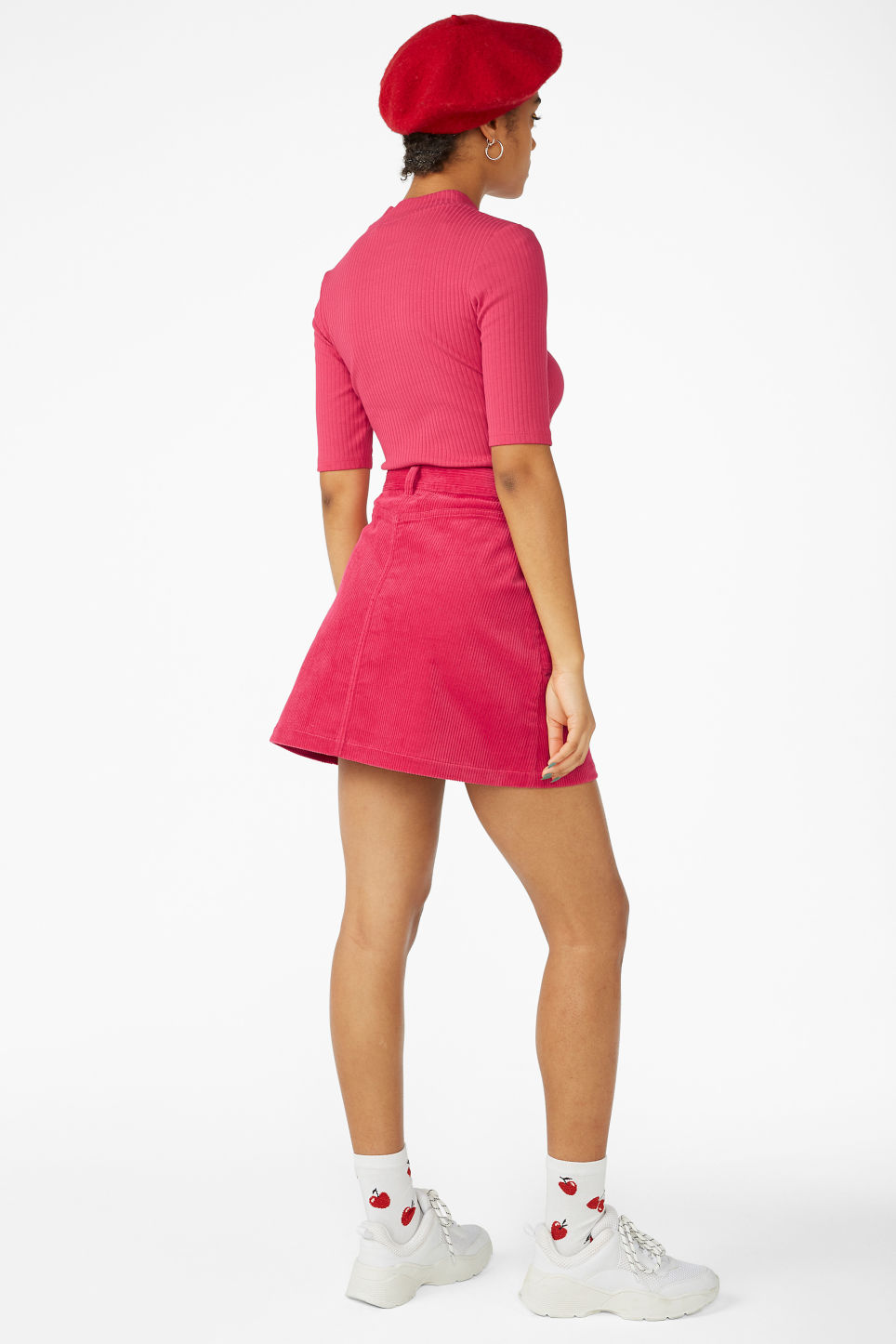 Model back image of Monki a-line cord mini skirt in pink