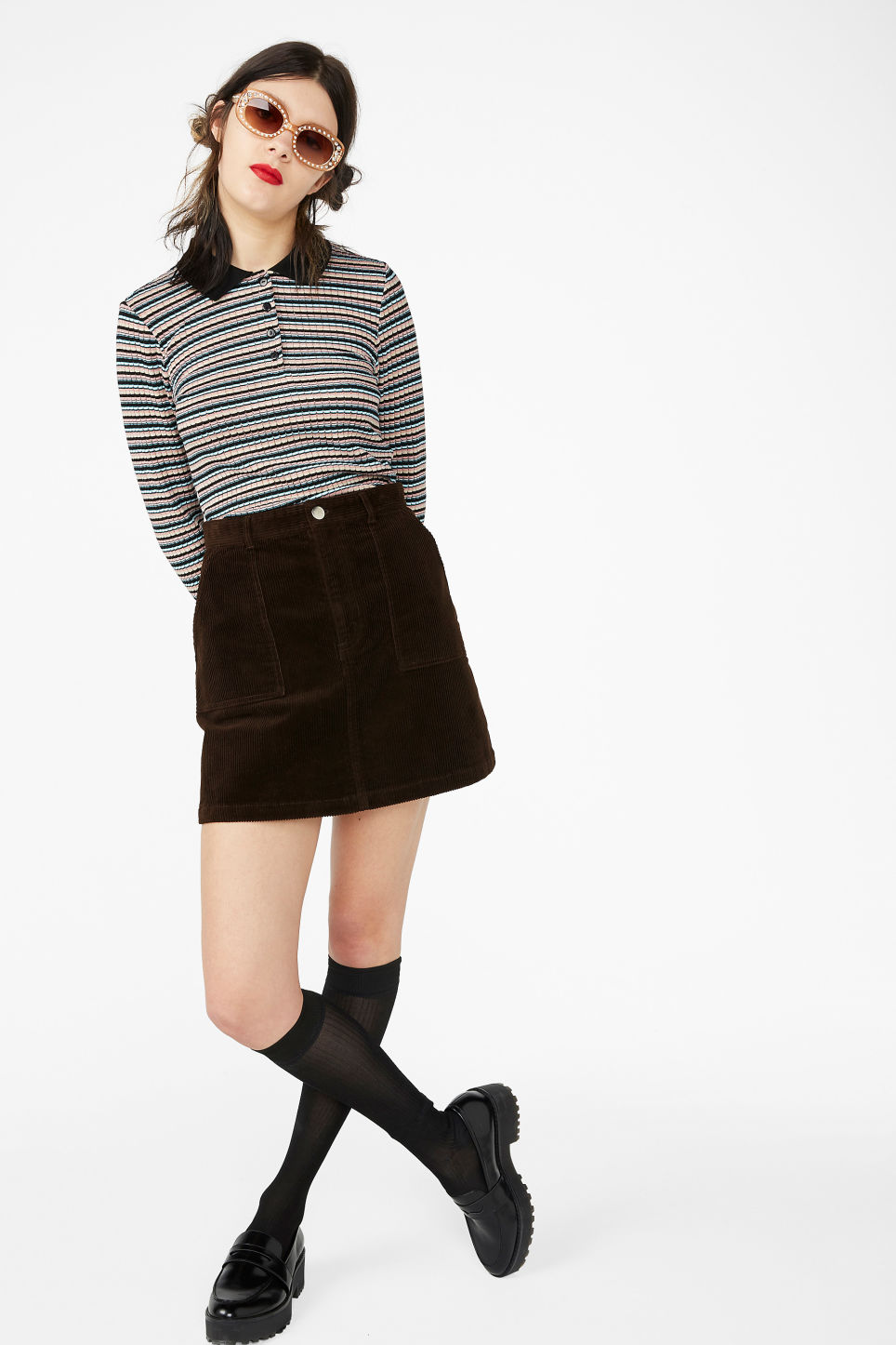 Model front image of Monki a-line cord mini skirt in brown