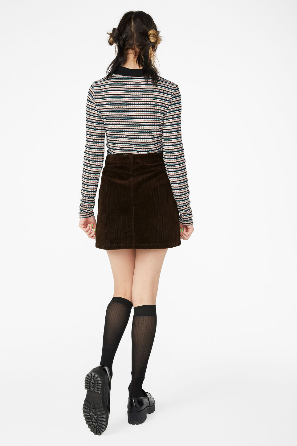Model back image of Monki a-line cord mini skirt in brown
