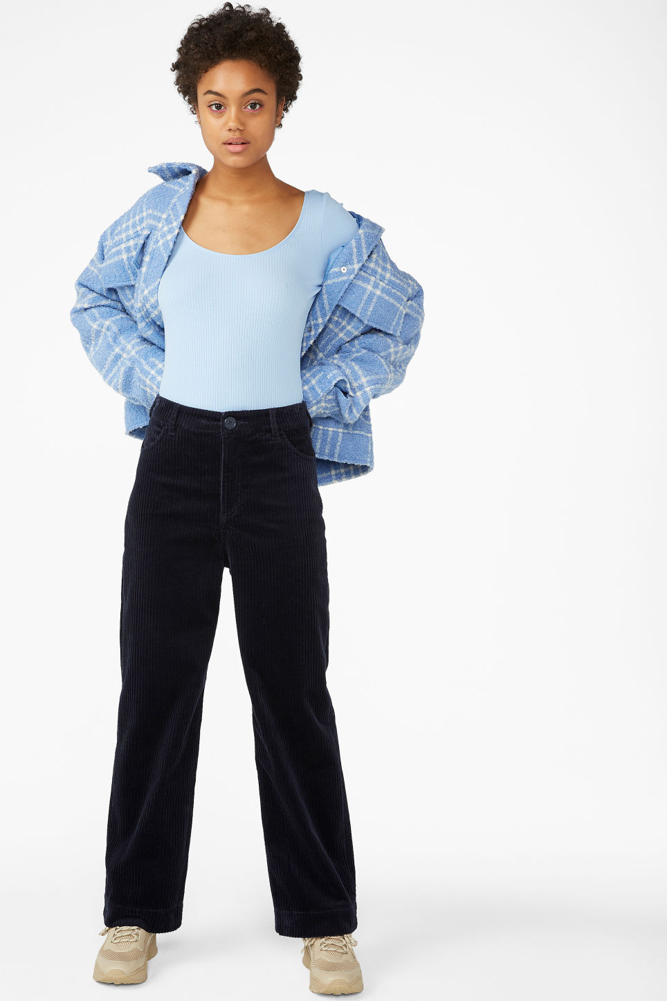 Model front image of Monki wide leg corduroy trousers in blue