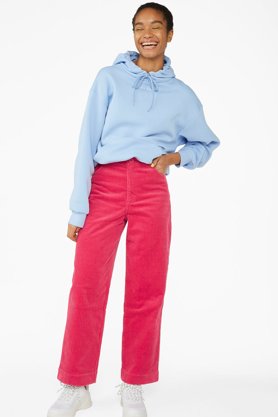 Model front image of Monki wide leg corduroy trousers in pink