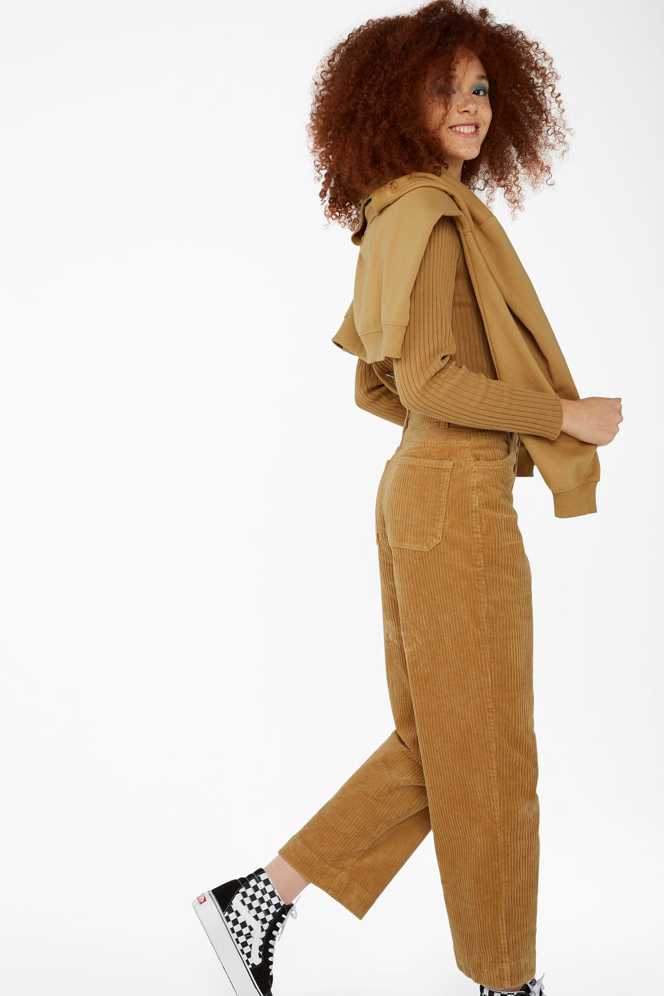 Model front image of Monki wide leg corduroy trousers in yellow