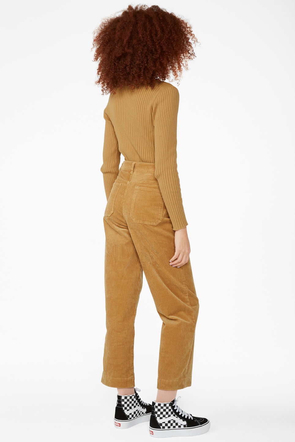 Model back image of Monki wide leg corduroy trousers in yellow