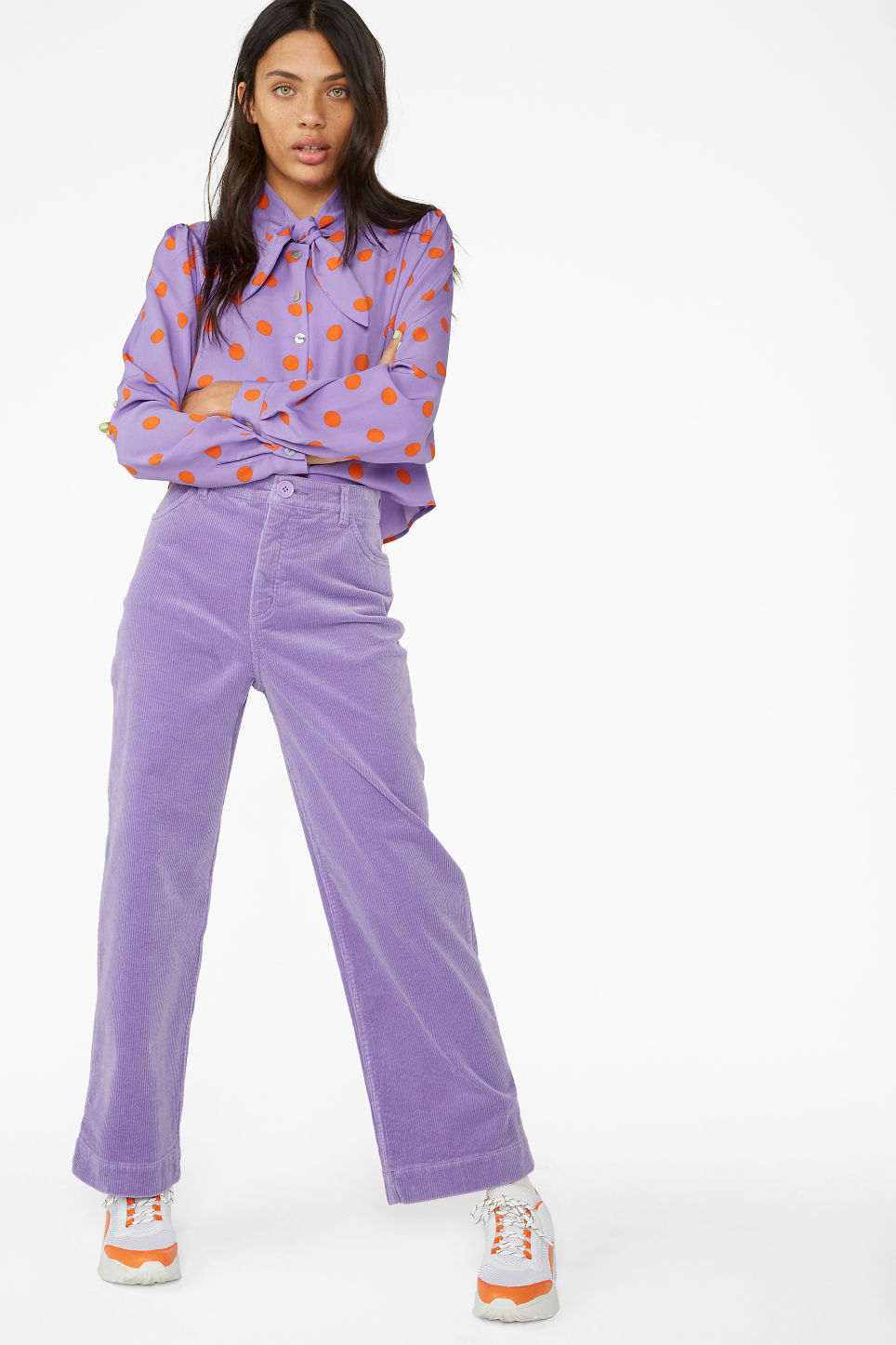 Model front image of Monki wide leg corduroy trousers in purple