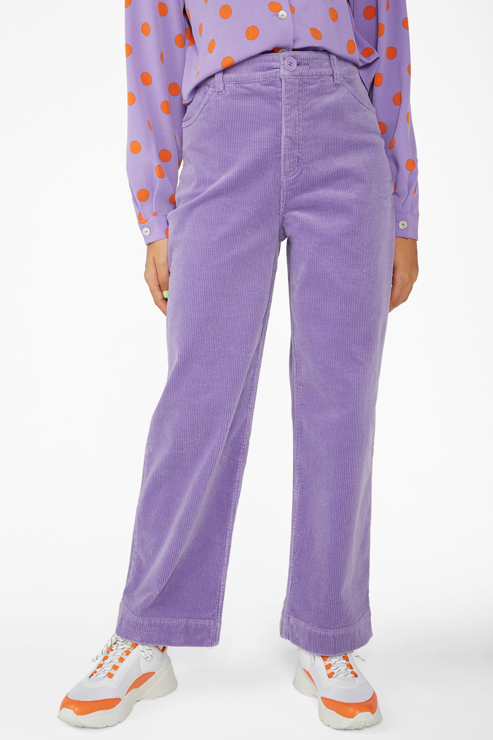 Model side image of Monki wide leg corduroy trousers in purple