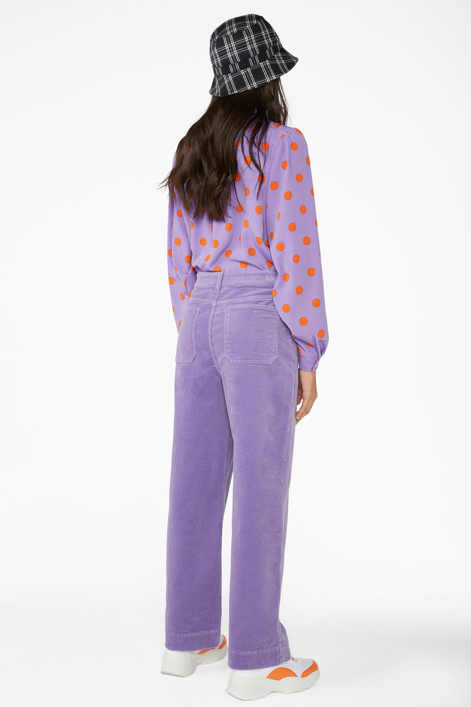 Model back image of Monki wide leg corduroy trousers in purple