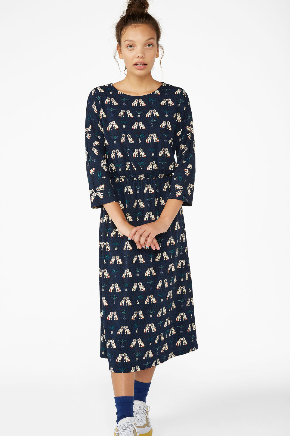 Model front image of Monki elastic-waist long dress in blue
