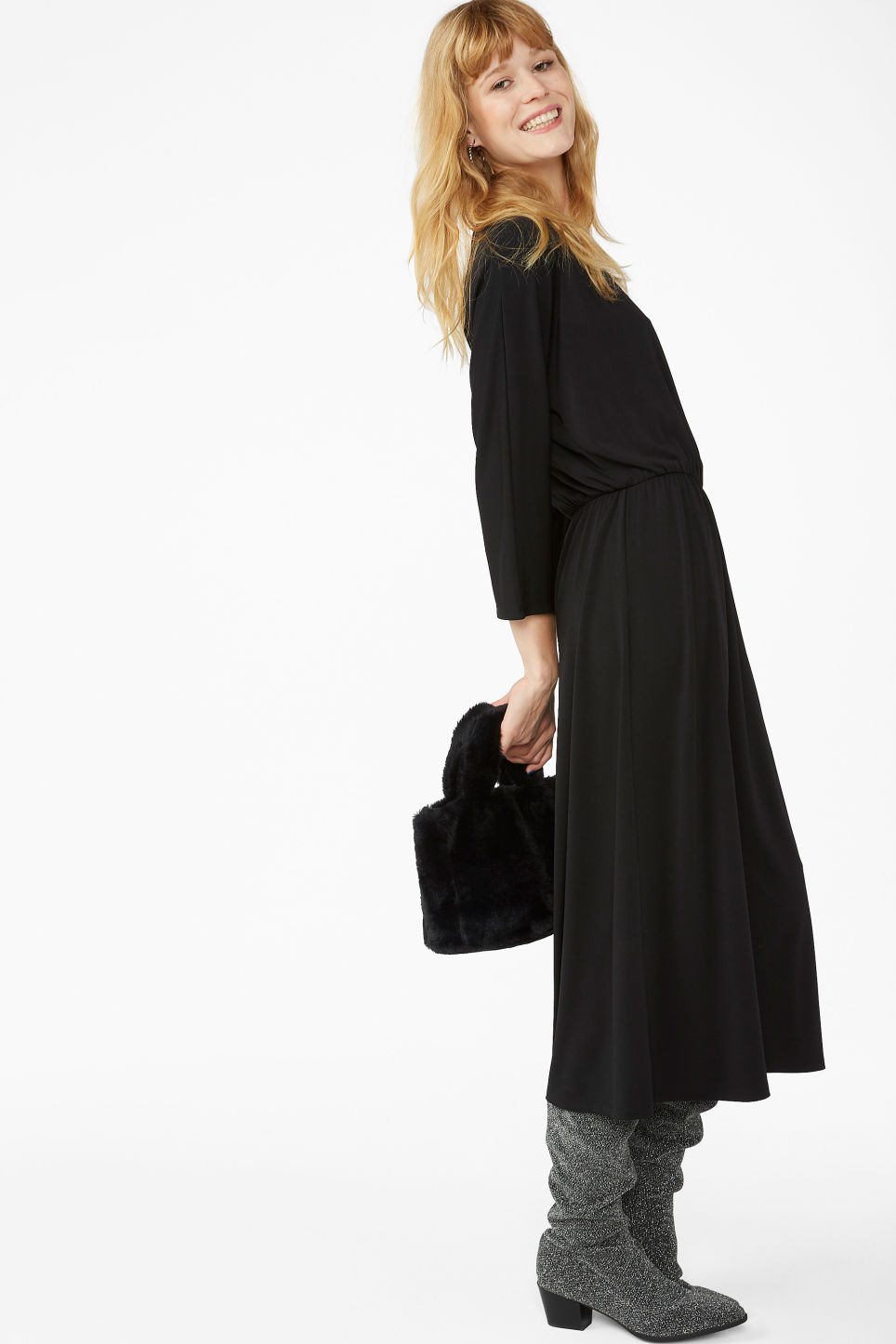 Model front image of Monki elastic-waist long dress in black