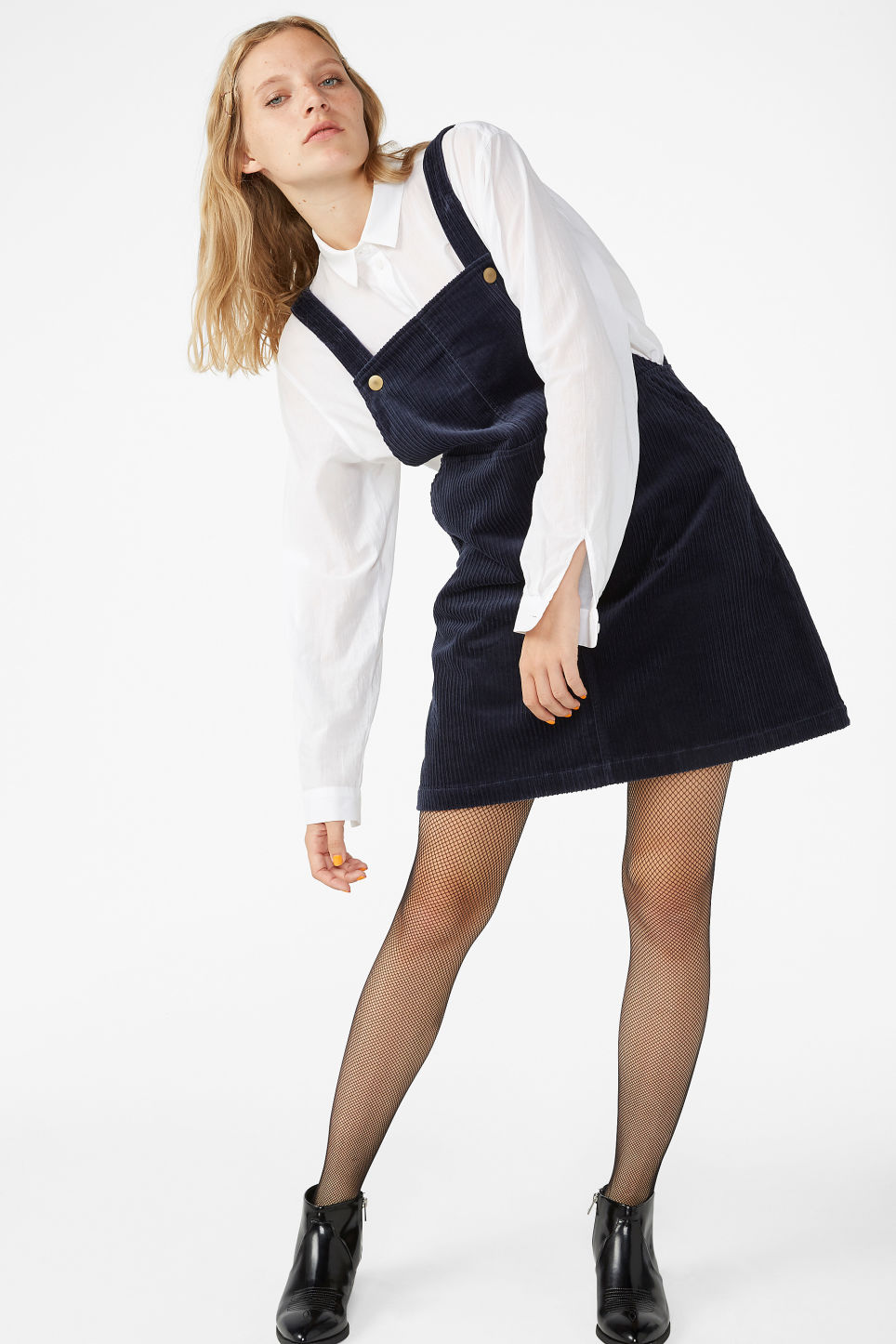 Model front image of Monki dungaree dress in blue