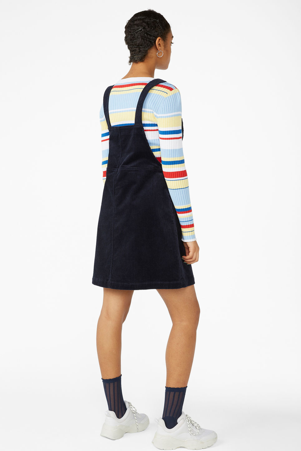 Model back image of Monki dungaree dress in blue