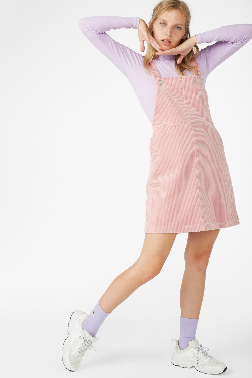 Model front image of Monki dungaree dress in pink