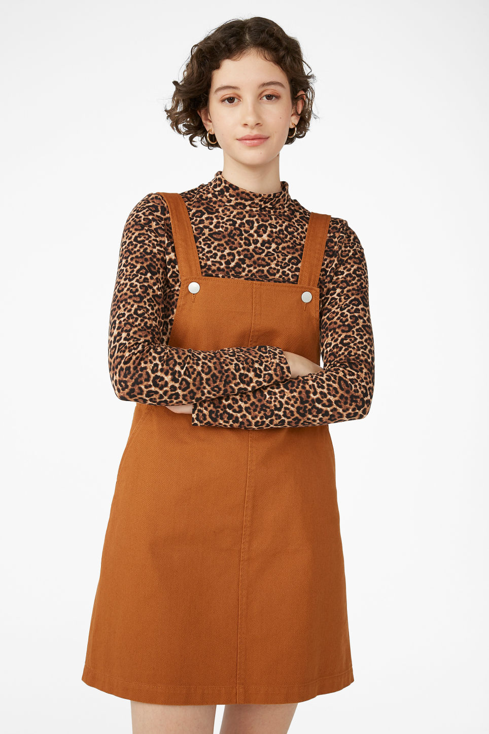 Model front image of Monki dungaree dress in orange