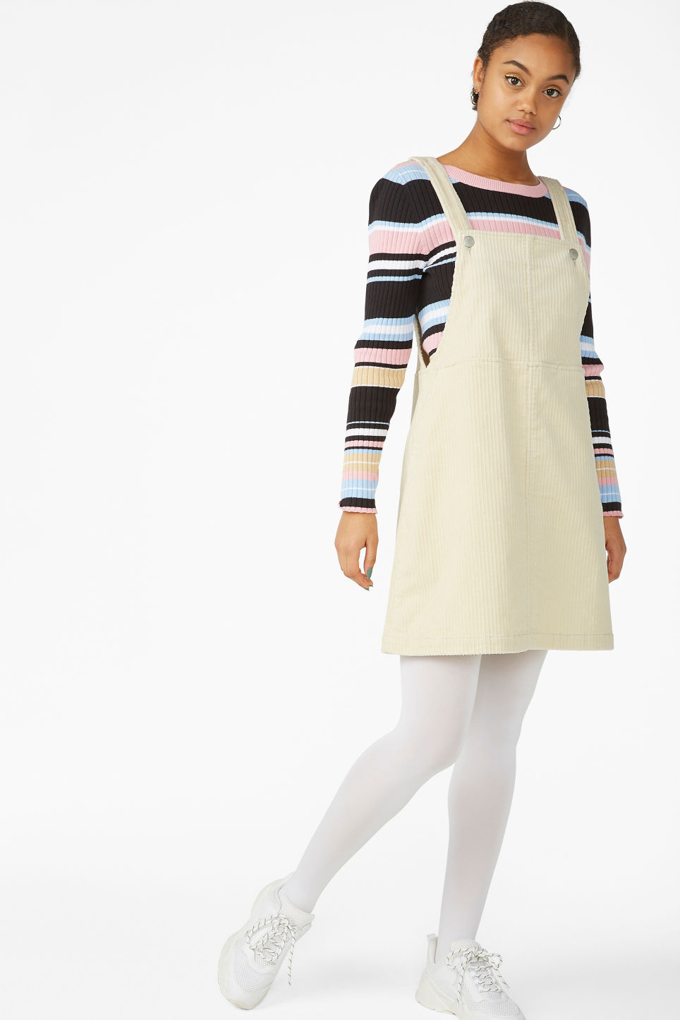 Model front image of Monki dungaree dress in beige