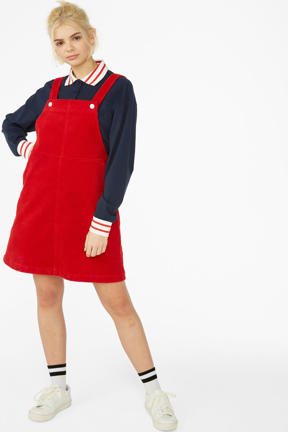 Model front image of Monki dungaree dress in red