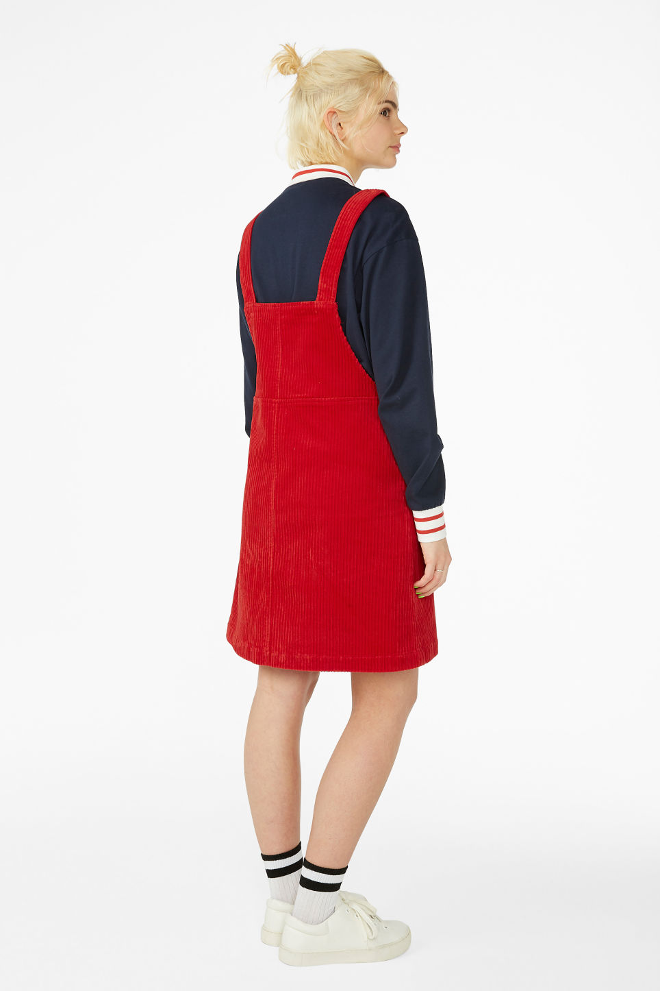 Model back image of Monki dungaree dress in red