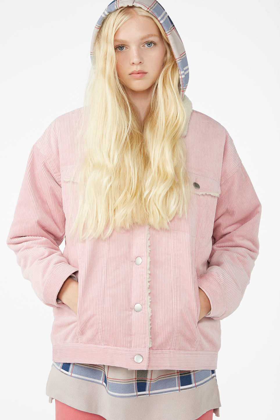 Model front image of Monki corduroy utility jacket  in pink