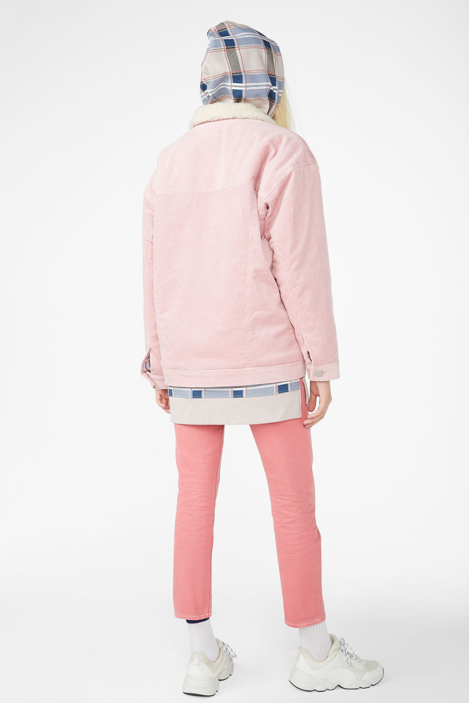 Model back image of Monki corduroy utility jacket  in pink