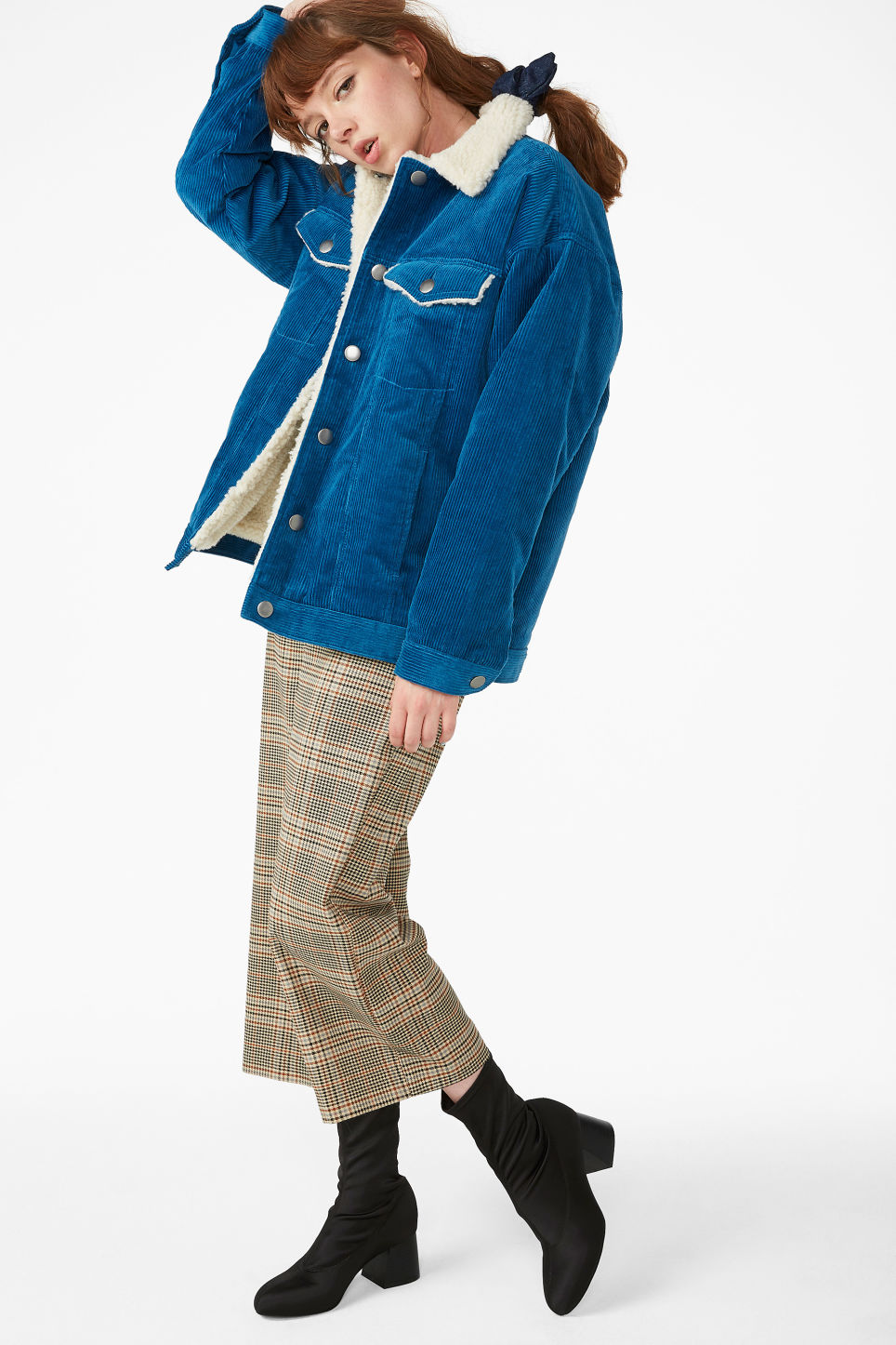 Model front image of Monki corduroy utility jacket  in blue