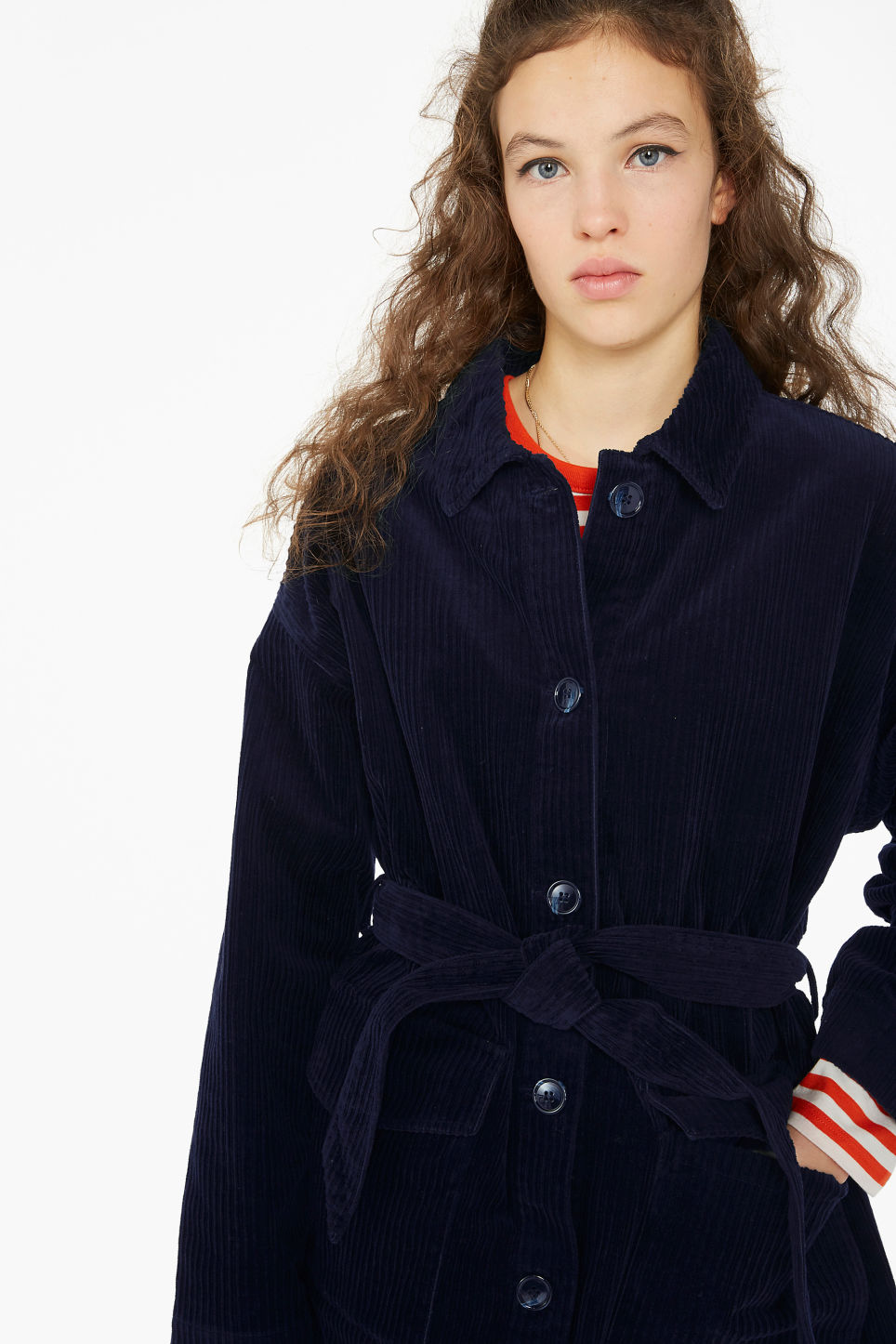 Model front image of Monki belted corduroy jacket in blue