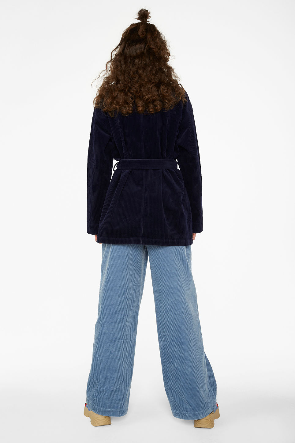 Model back image of Monki belted corduroy jacket in blue