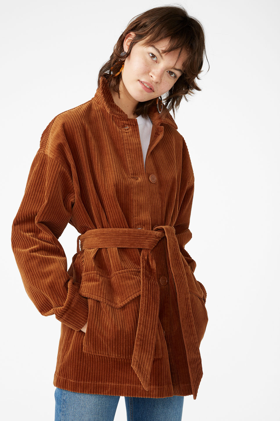 Model front image of Monki belted corduroy jacket in brown